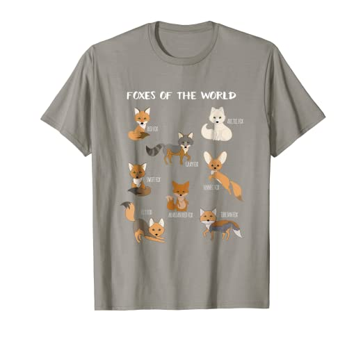 1186c325 Amazon.com: Foxes Of The World Funny Fox Animals Educational T Shirt ...