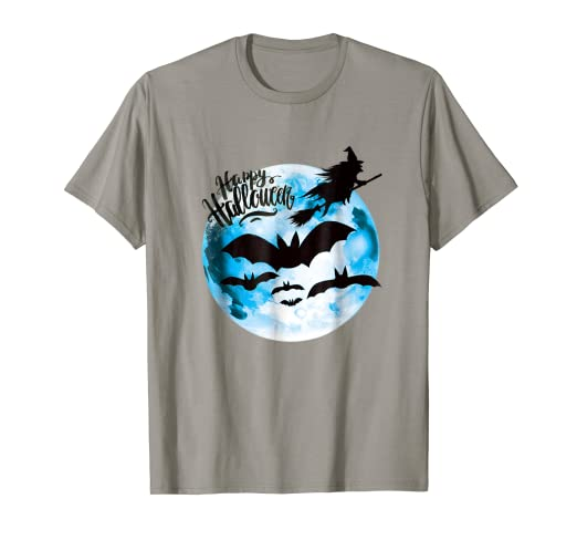 a1ec39a5 Image Unavailable. Image not available for. Color: Moon N Scary Bats  Halloween Shirt In Kid Women And Men Sizes