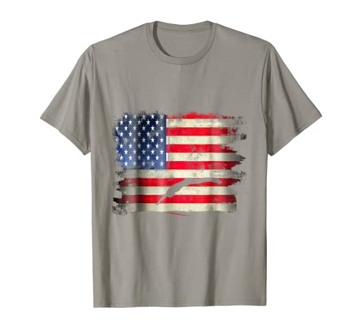 92e7fd10ebe0e Image Unavailable. Image not available for. Color: USA Vintage American  Flag Swim Funny Swimmer T Shirt