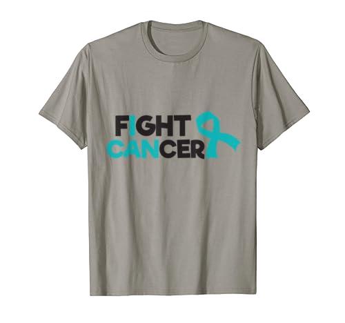 Fuck Cancer Ovarian Cancer Awareness Shirt Teal Ribbon Gift