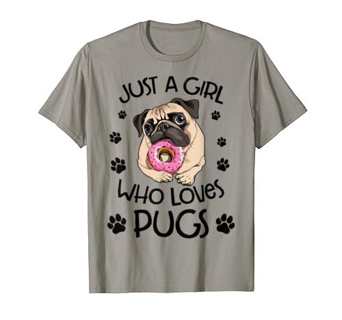 Just A Girl Who Loves Pugs Cute Pug Dog Gift For Girl Kids T Shirt