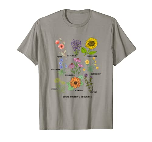 Cute Grow Positive Thoughts T Shirt Flower Lover Gift T Shirt