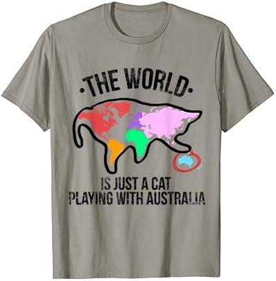 세상은 호주 티셔츠를 가지고 노는 고양이입니다