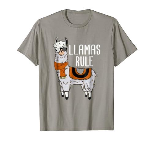 c691f0b5c3 Llamas Rule T-Shirt Glasses Wild Hair Llama