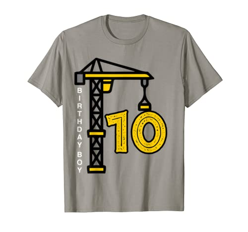 10th Birthday Construction Crane 10 year old Architect Shirt