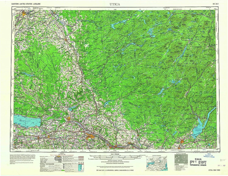 Utica NY topo map, 1 250000 Scale, 1 X 2 Degree, Historical, 1967, 22.1 x 29 in