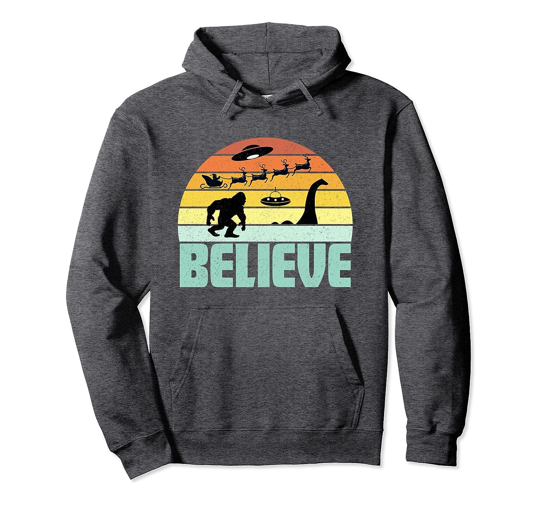Believe Santa Claus Bigfood Nessie UFO Retro Sunset Gift Pullover Hoodie