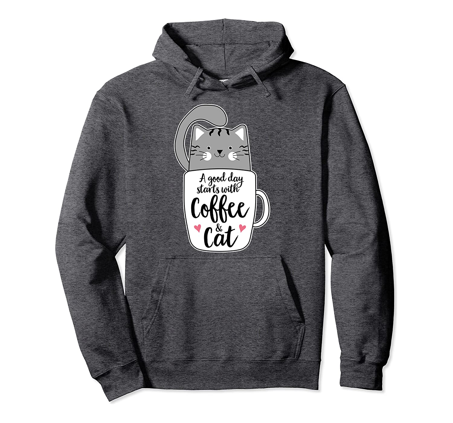 Funny Grey Cat Art Coffee Mug Cat Lover Gifts Pullover Hoodie