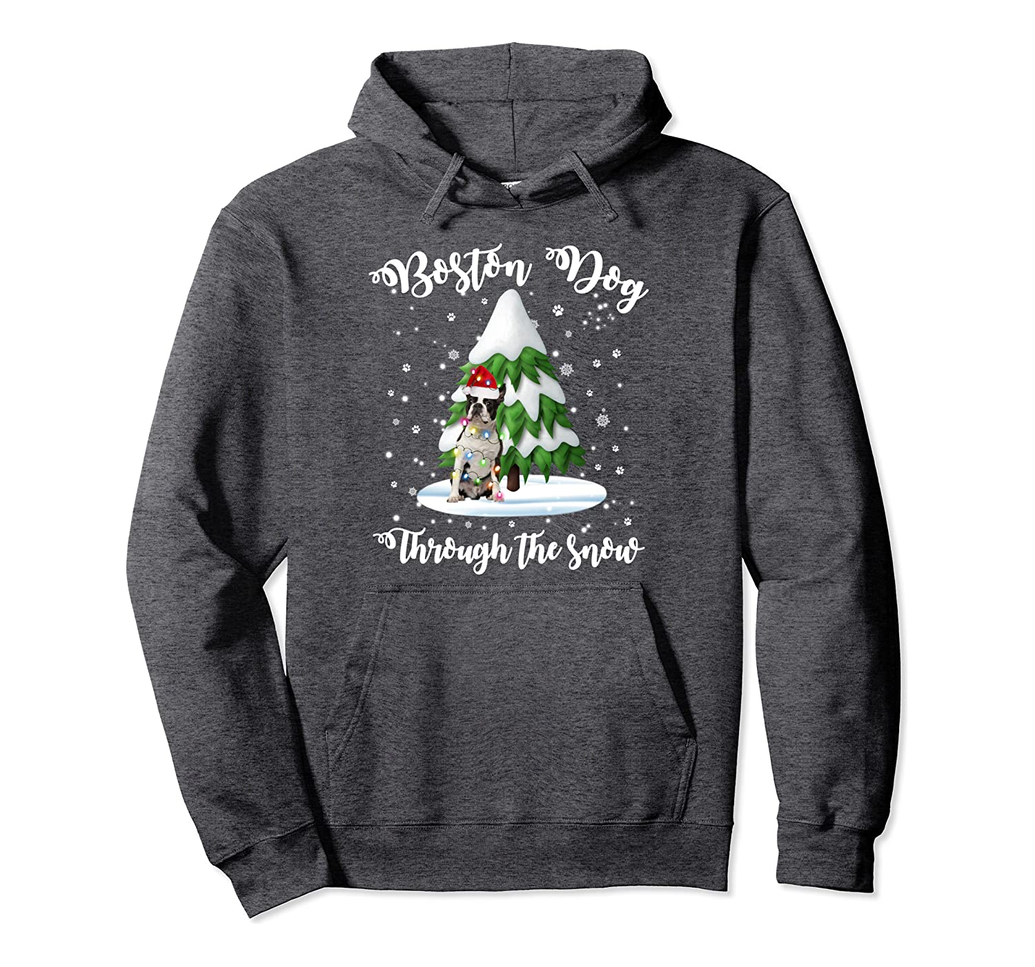 Boston dog Through The Snow Christmas Gift Dog Lovers Pullover Hoodie