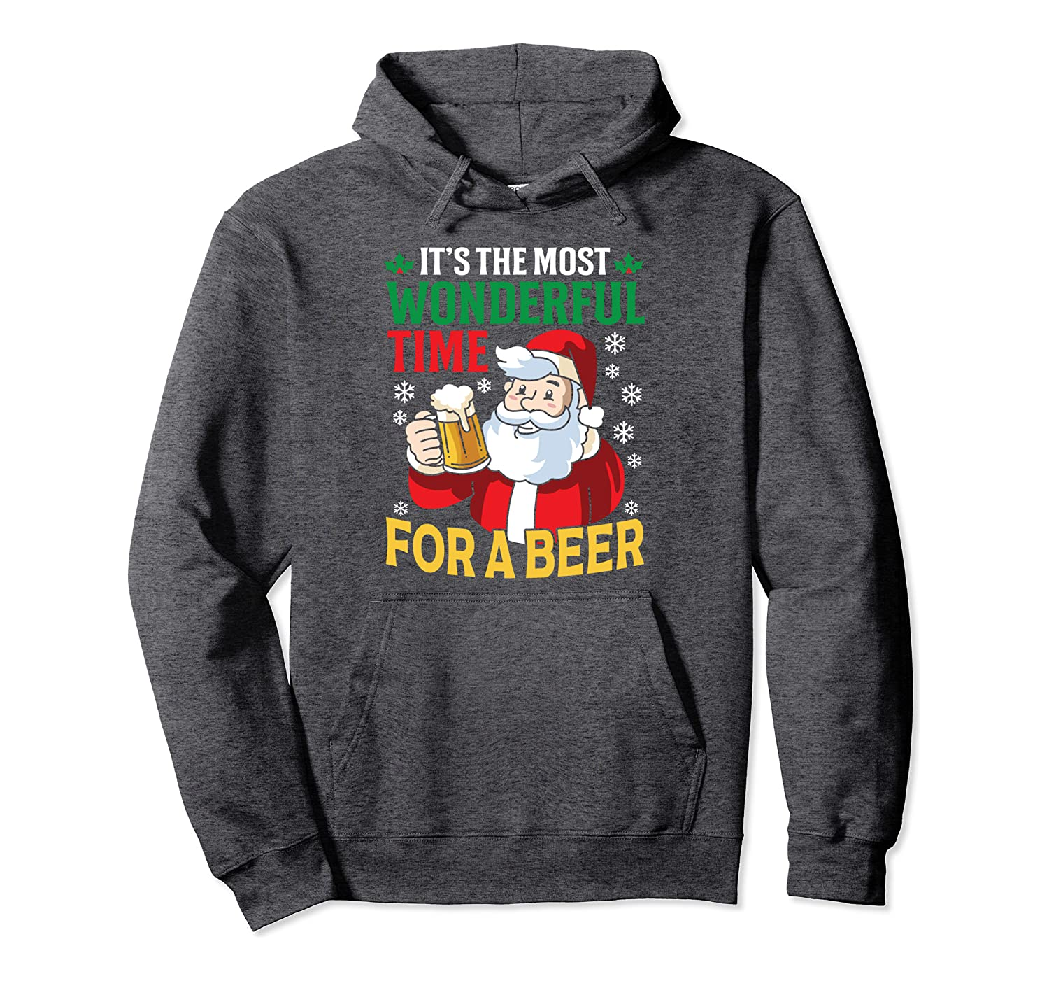 It's The Most Wonderful Time For Beer Christmas Funny Family Pullover Hoodie