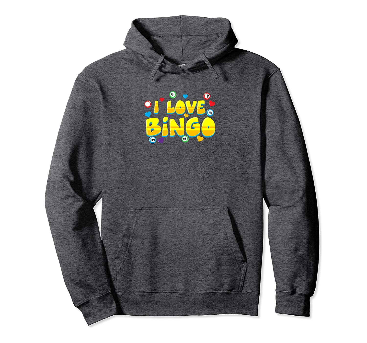 Funny Bingo Player Gift – I Love Bingo Graphic Art Pullover Hoodie