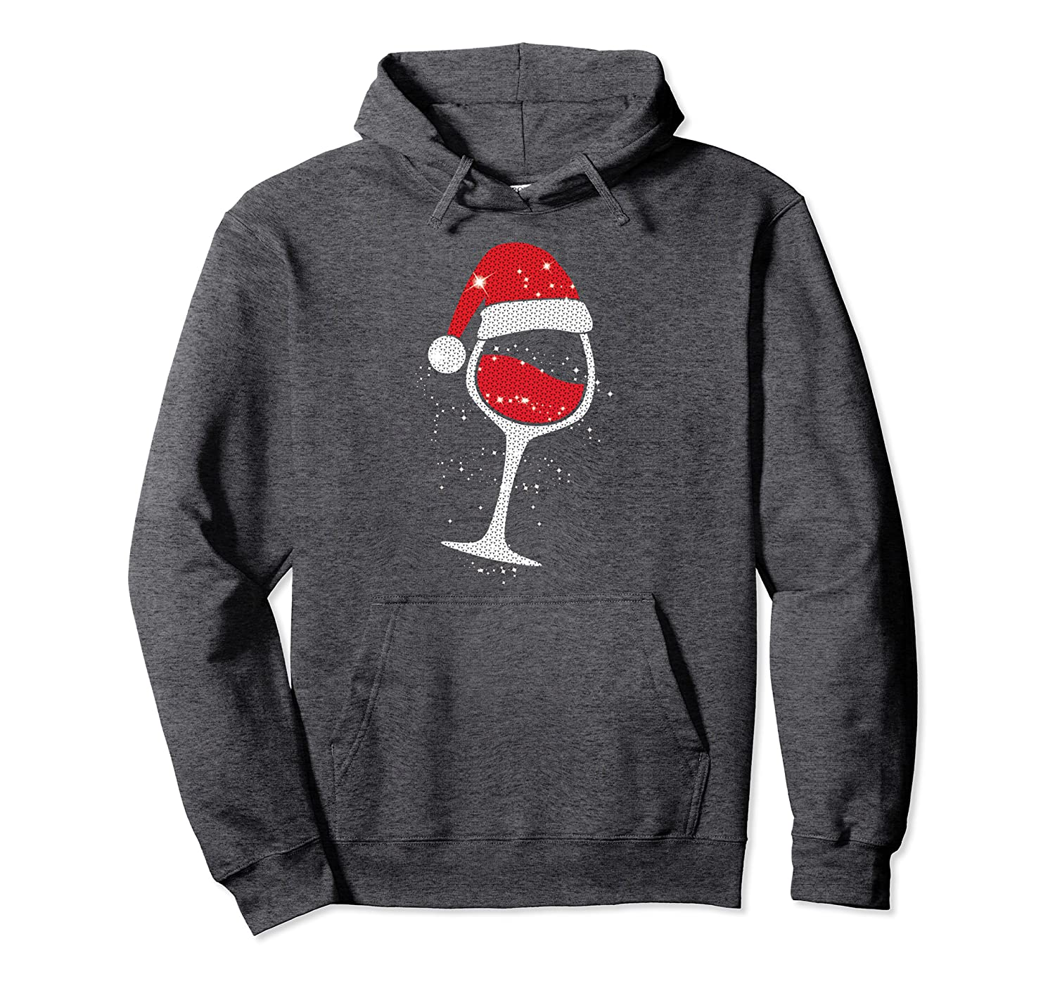 Wine Glasses Santa Hat Christmas Funny Wine Lover Gifts Xmas Pullover Hoodie