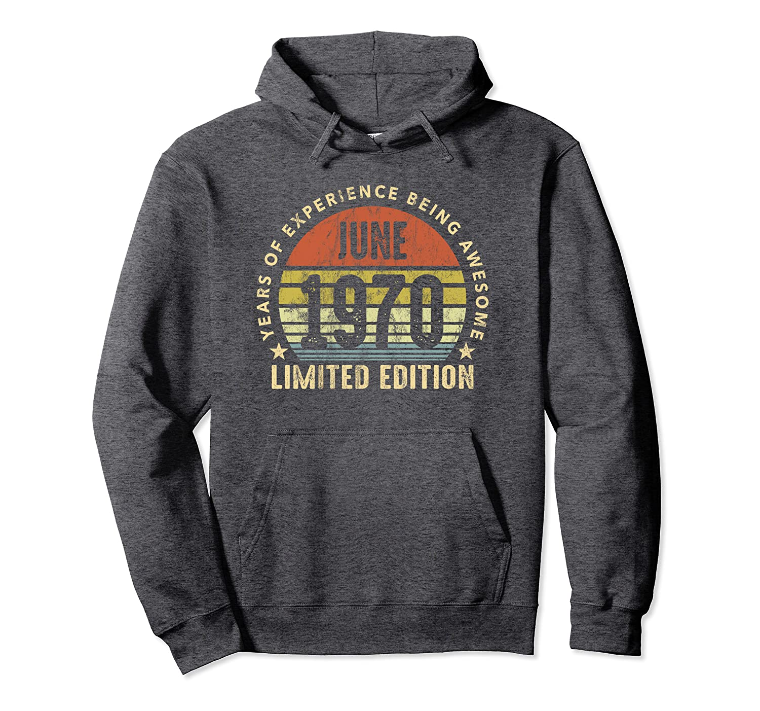 Born In June 1970 Vintage Sunset 50th Birthday All Original Pullover Hoodie