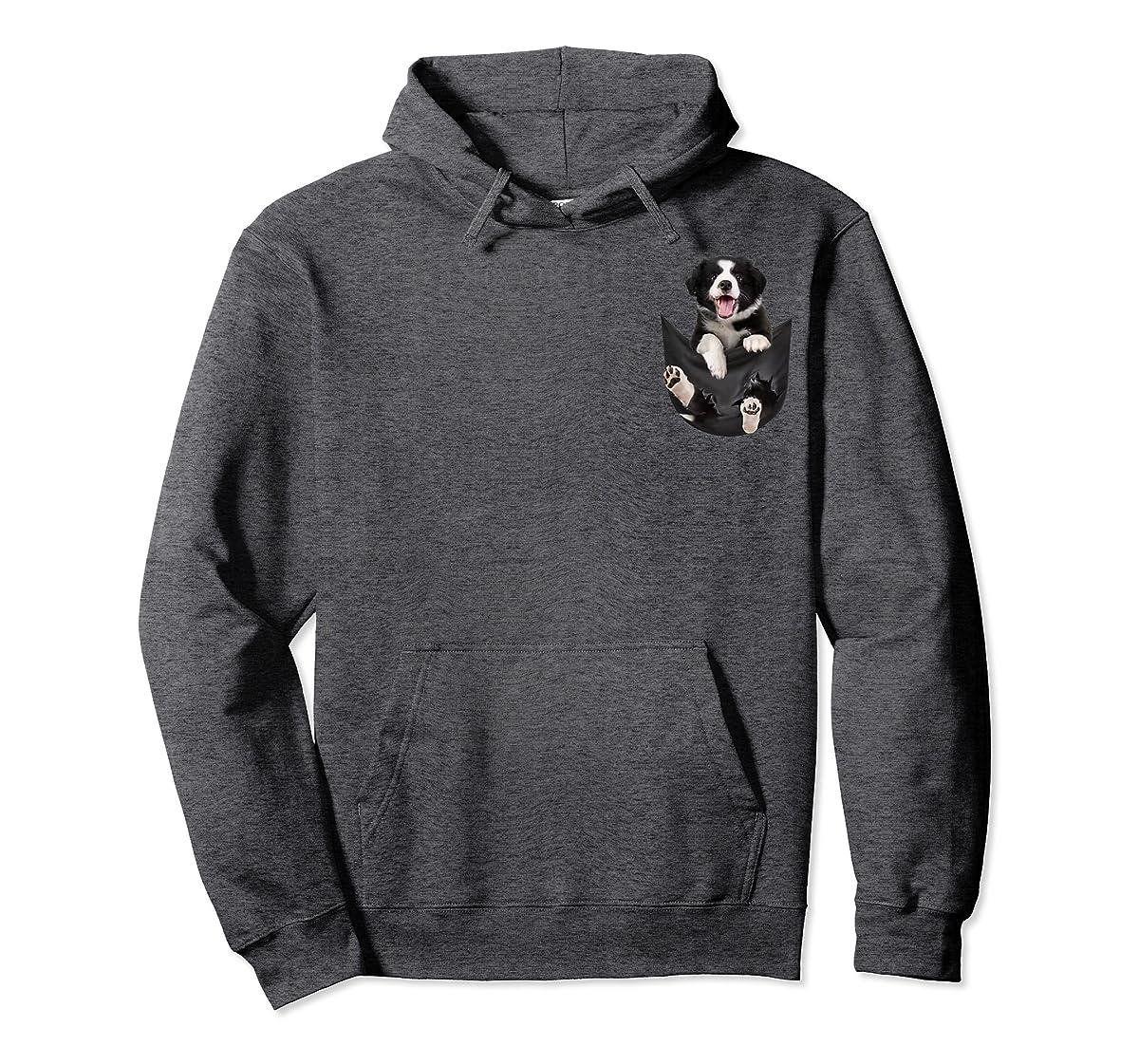 Gift dog funny cute shirt - Border Collie in pocket shirt T-Shirt-Hoodie-Dark Heather