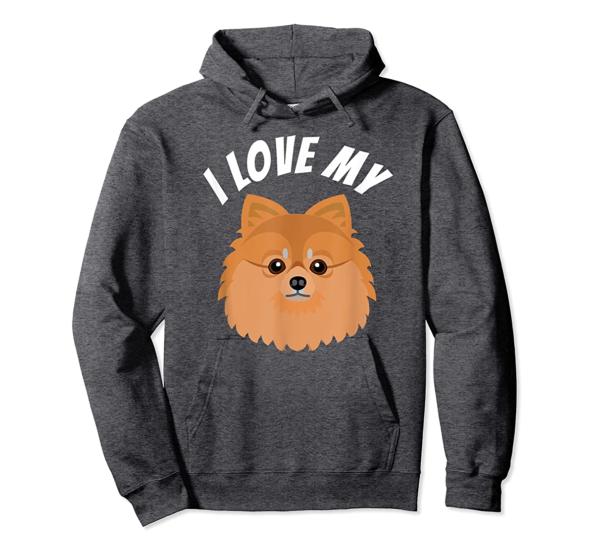 I Love My Pomeranian T-Shirt Dog Lover Tee-Hoodie-Dark Heather