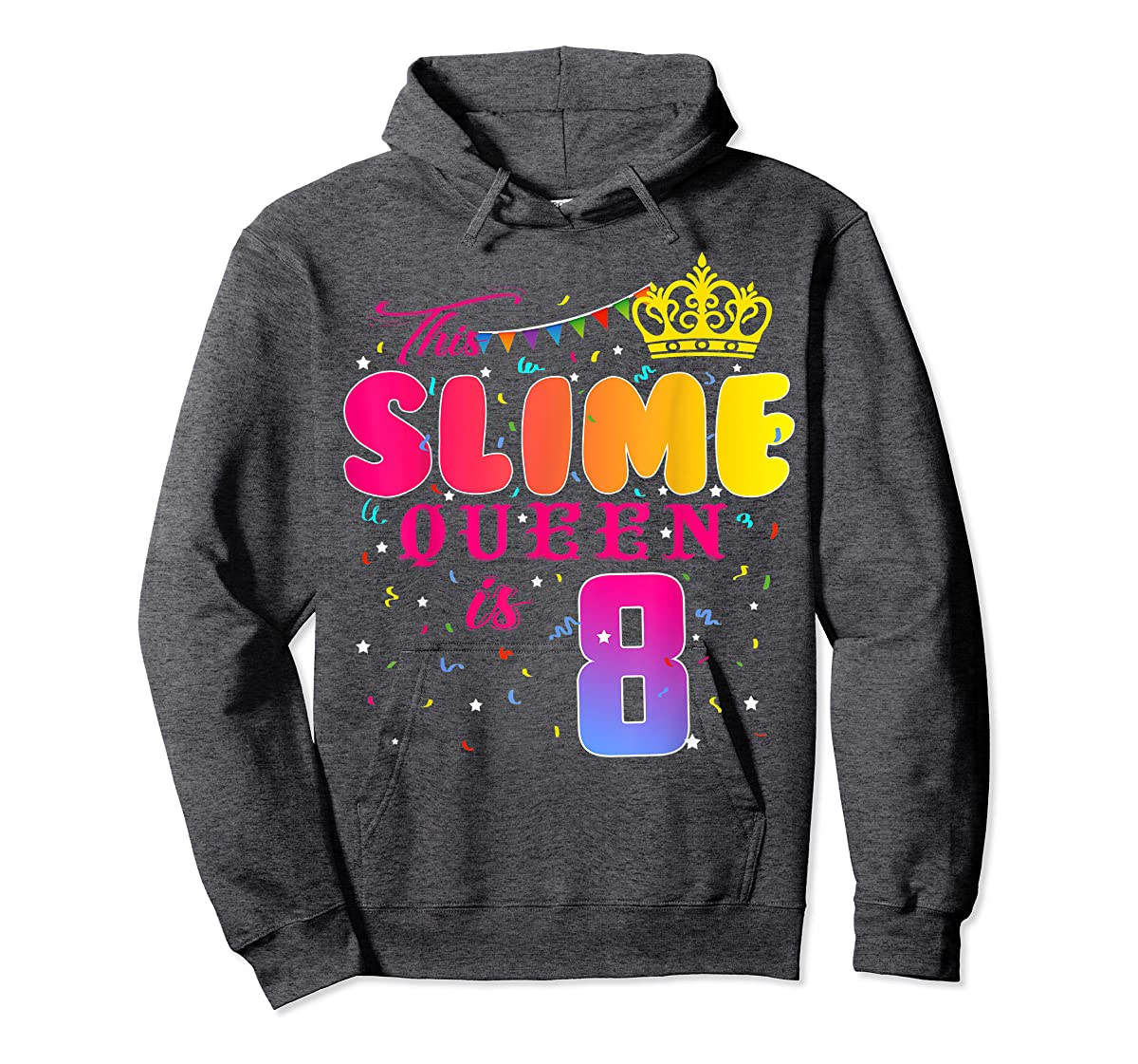 8 Years Old 8th Birthday Slime Queen Shirt Girl Gift Party-Hoodie-Dark Heather