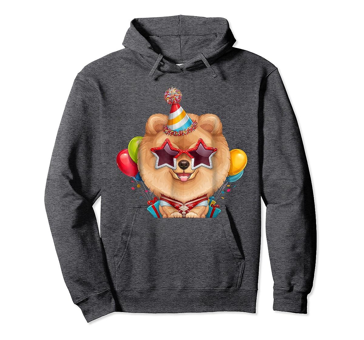 Orange Pomeranian in Glasses Birthday T-Shirt-Hoodie-Dark Heather