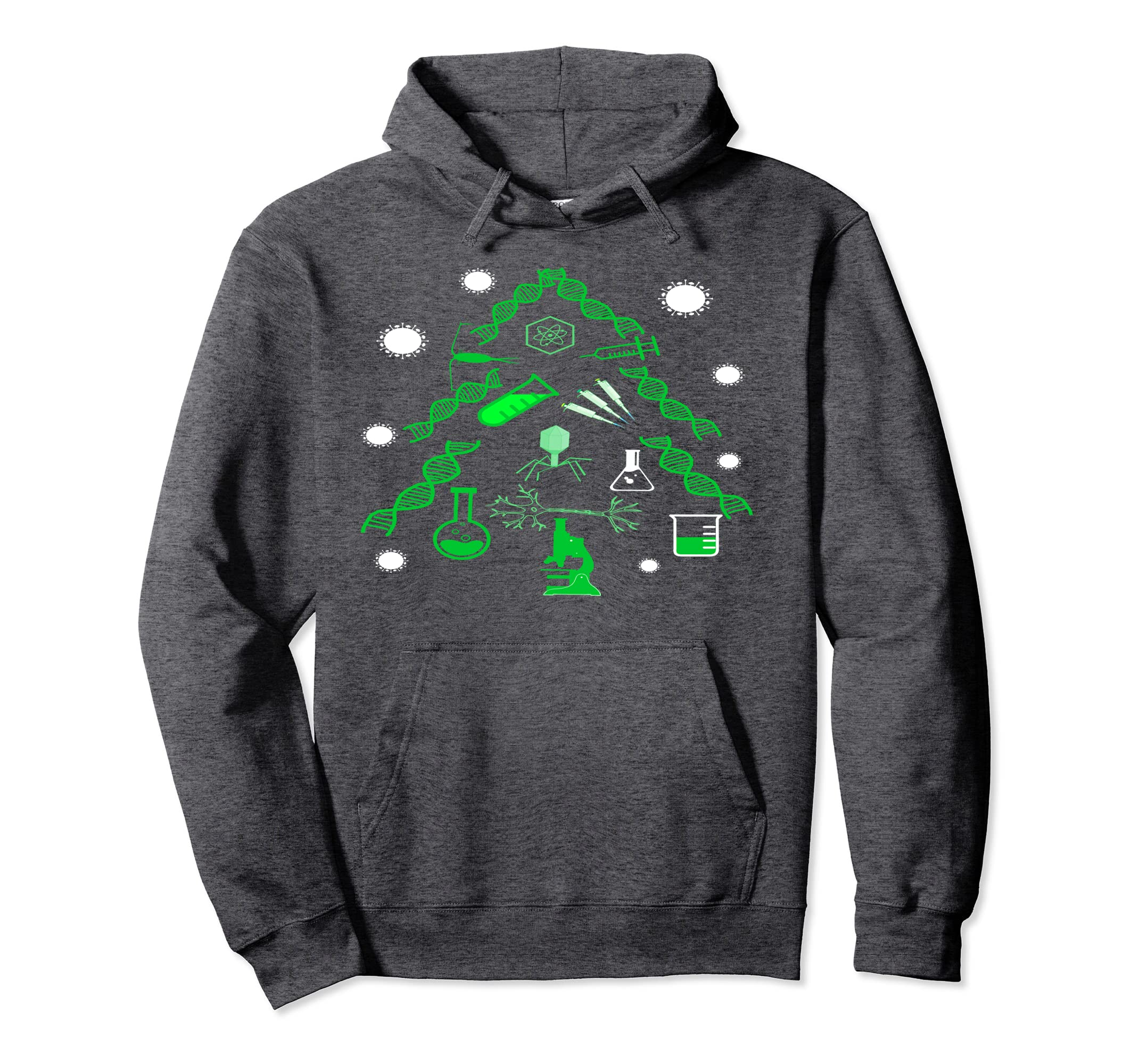Amazon Com Science Christmas Tree Hoodie Dna Virus Test Tube
