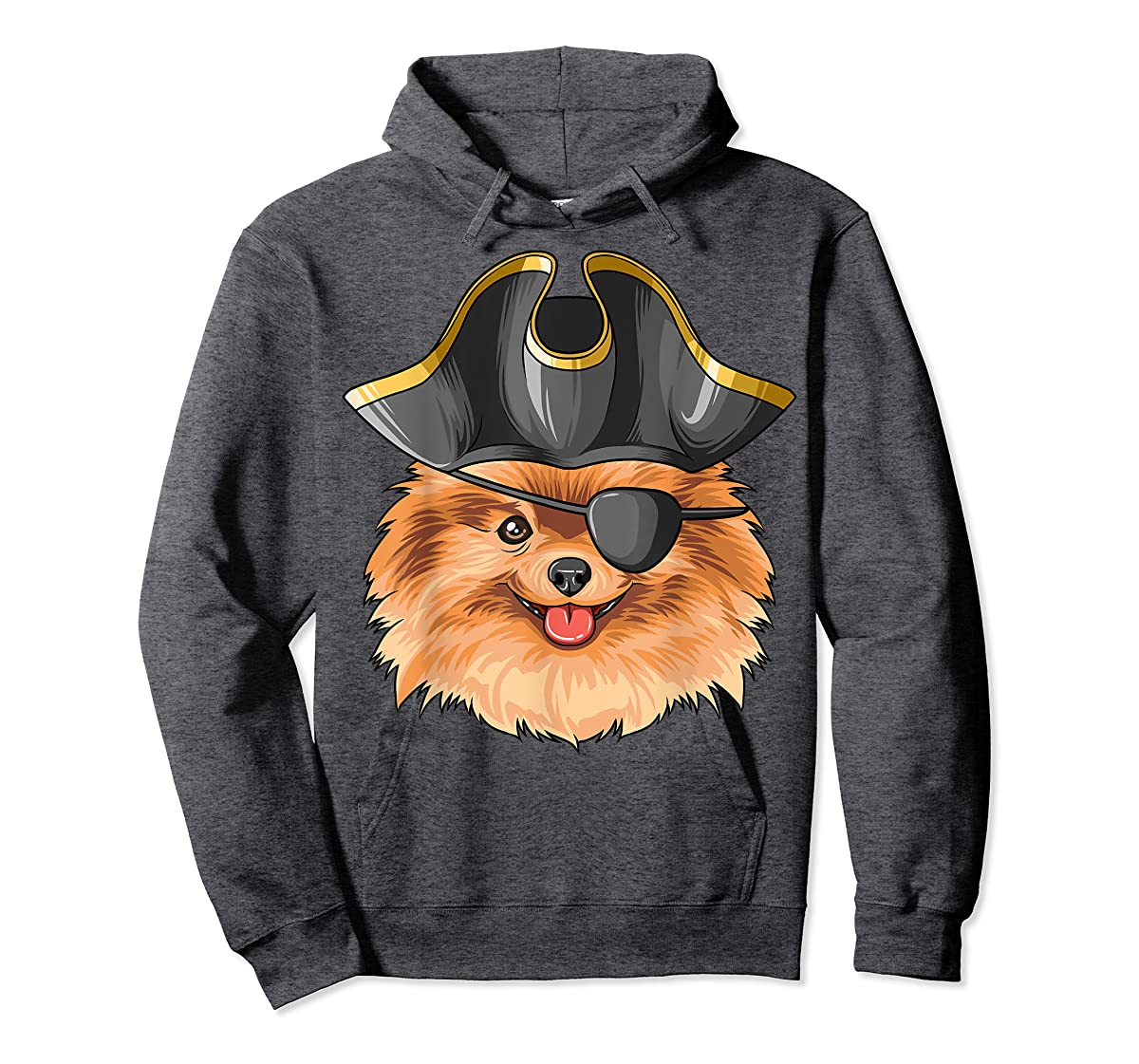 Pirate Pomeranian Pirates Hat Pomeranian T-Shirt-Hoodie-Dark Heather