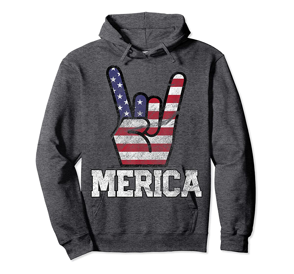 Merica Rock Sign 4th of July Vintage American Flag Retro USA T-Shirt-Hoodie-Dark Heather