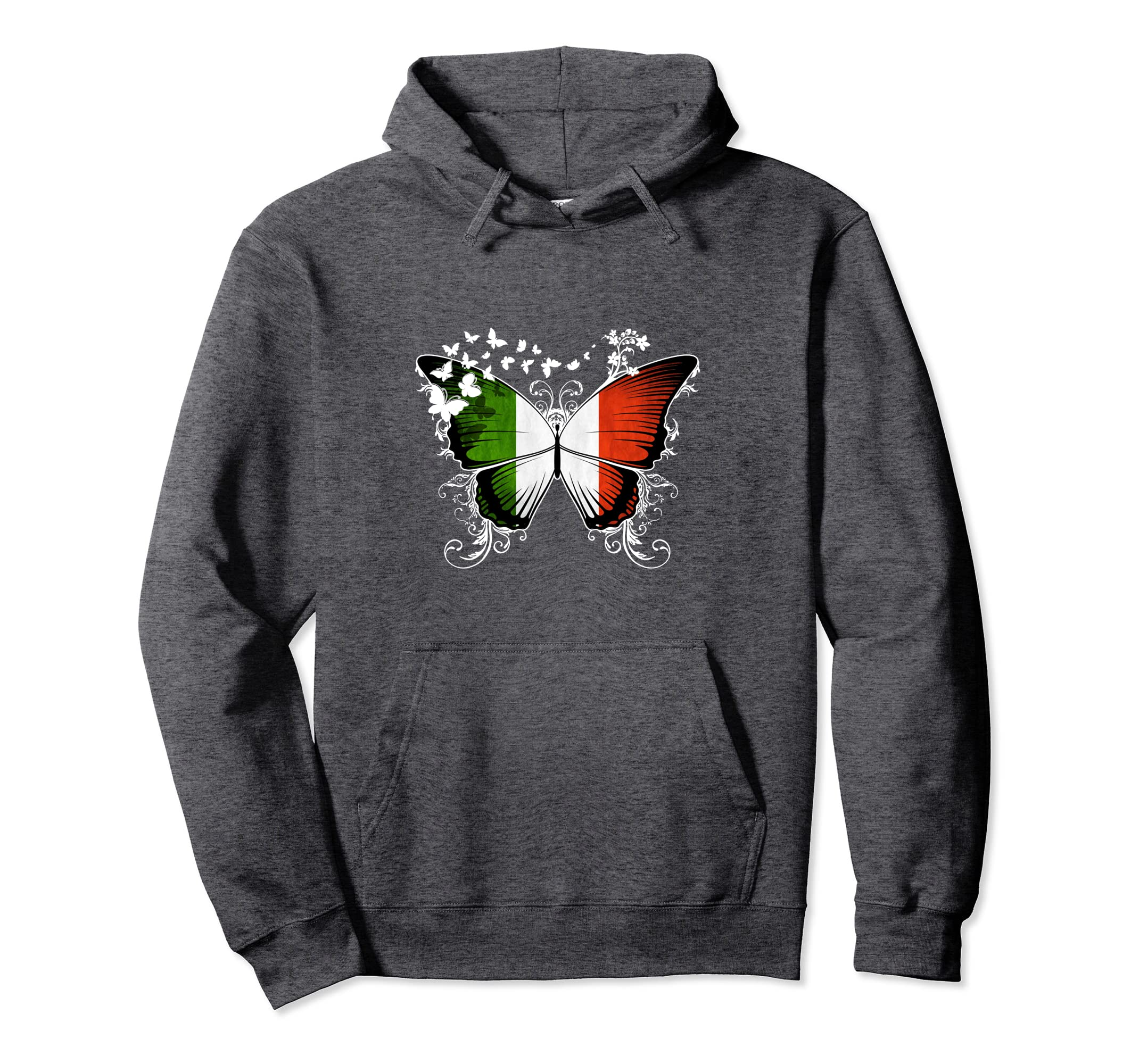 Italy Flag Pullover Hoodie Italian Flag Butterfly