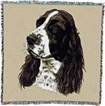 Pure Country Weavers - English Springer Spaniel Woven Throw Blanket with Fringe Cotton. USA Size 54x54