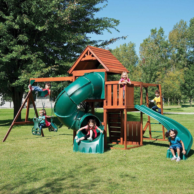 Swing-N-Slide Grandview Twist Play Set with Two Slides, Two Swin