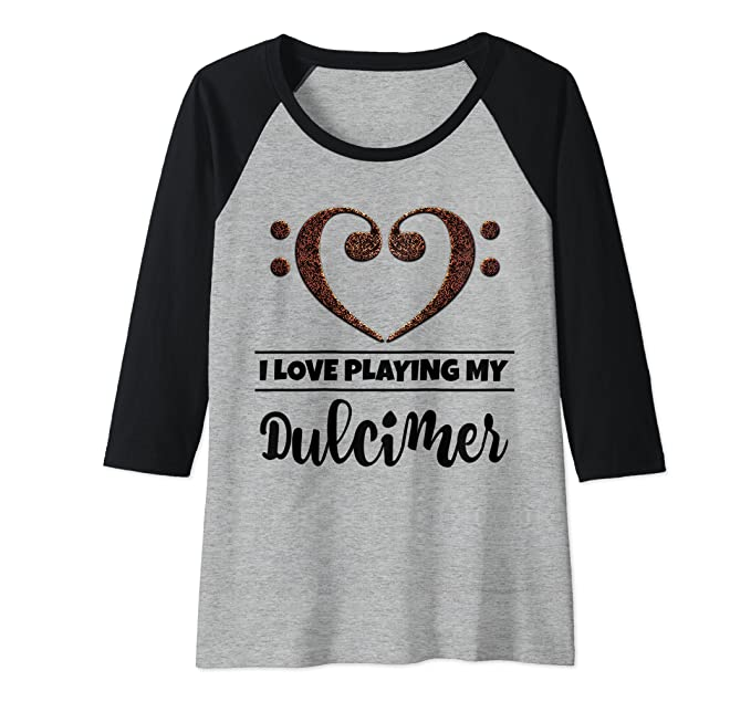 Bass Clef Musical Heart I Love Playing My Dulcimer Musician Raglan Baseball Tee