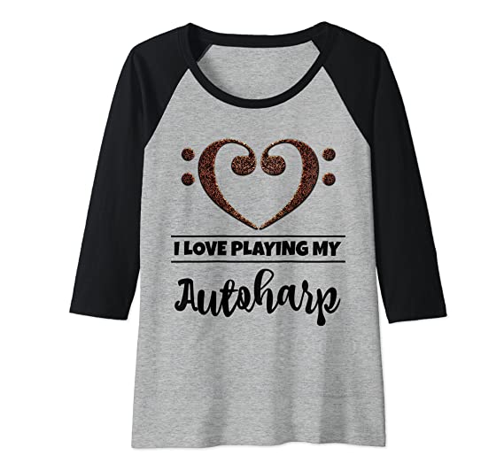 Bass Clef Musical Heart I Love Playing My Autoharp Musician Raglan Baseball Tee