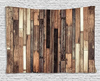 Ambesonne Wooden Tapestry, Brown Old Hardwood Floor Plank Grunge Lodge Garage Loft Natural Rural Graphic Print, Wide Wall Hanging for Bedroom Living Room Dorm, 80