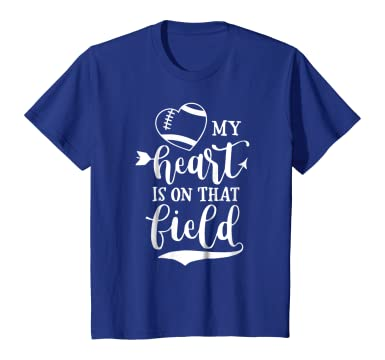 Amazon Com My Heart Is On That Field Football T Shirt Mom And Dad Gift Clothing