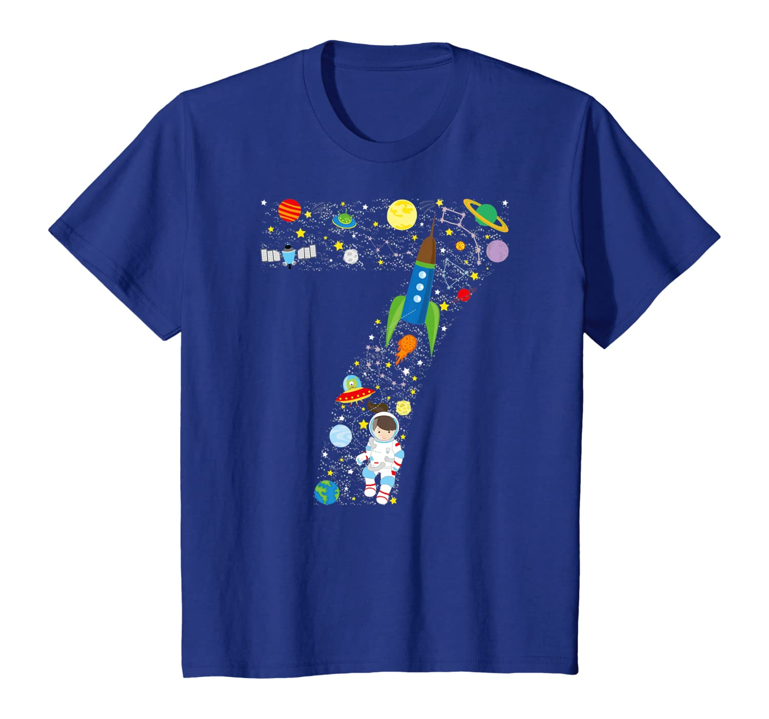Outer Space Seventh Birthday GIRL Astronaut seven T-shirt Youth
