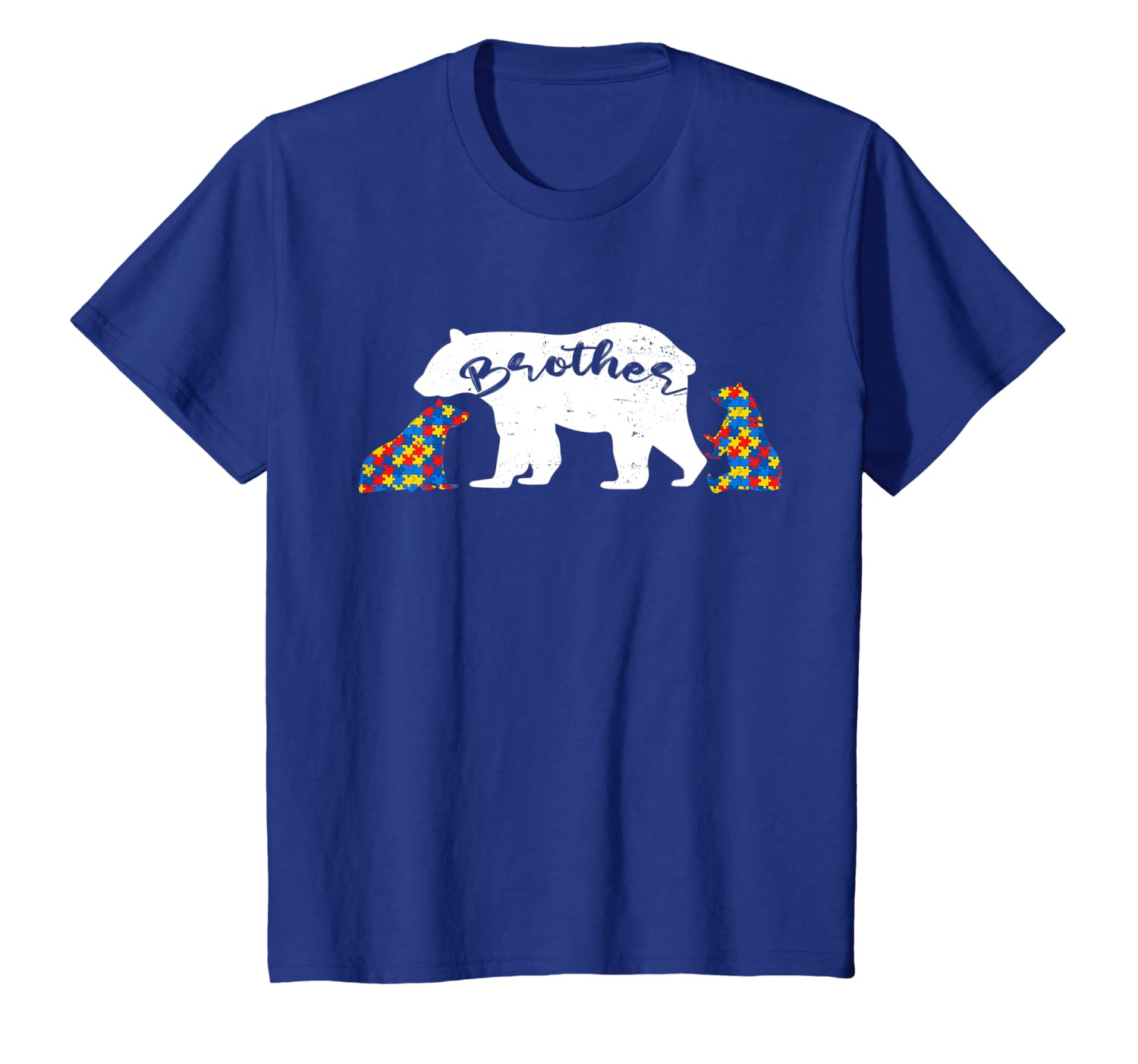Autism Brother Bear Two Cubs Autistic Puzzle Piece Gift T-Shirt