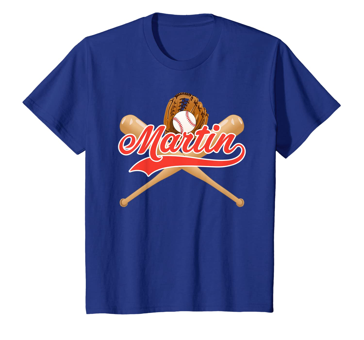 Kids Baseball Player Martin Birthday Boy T-Shirt Kids Name Gift Unisex Tshirt