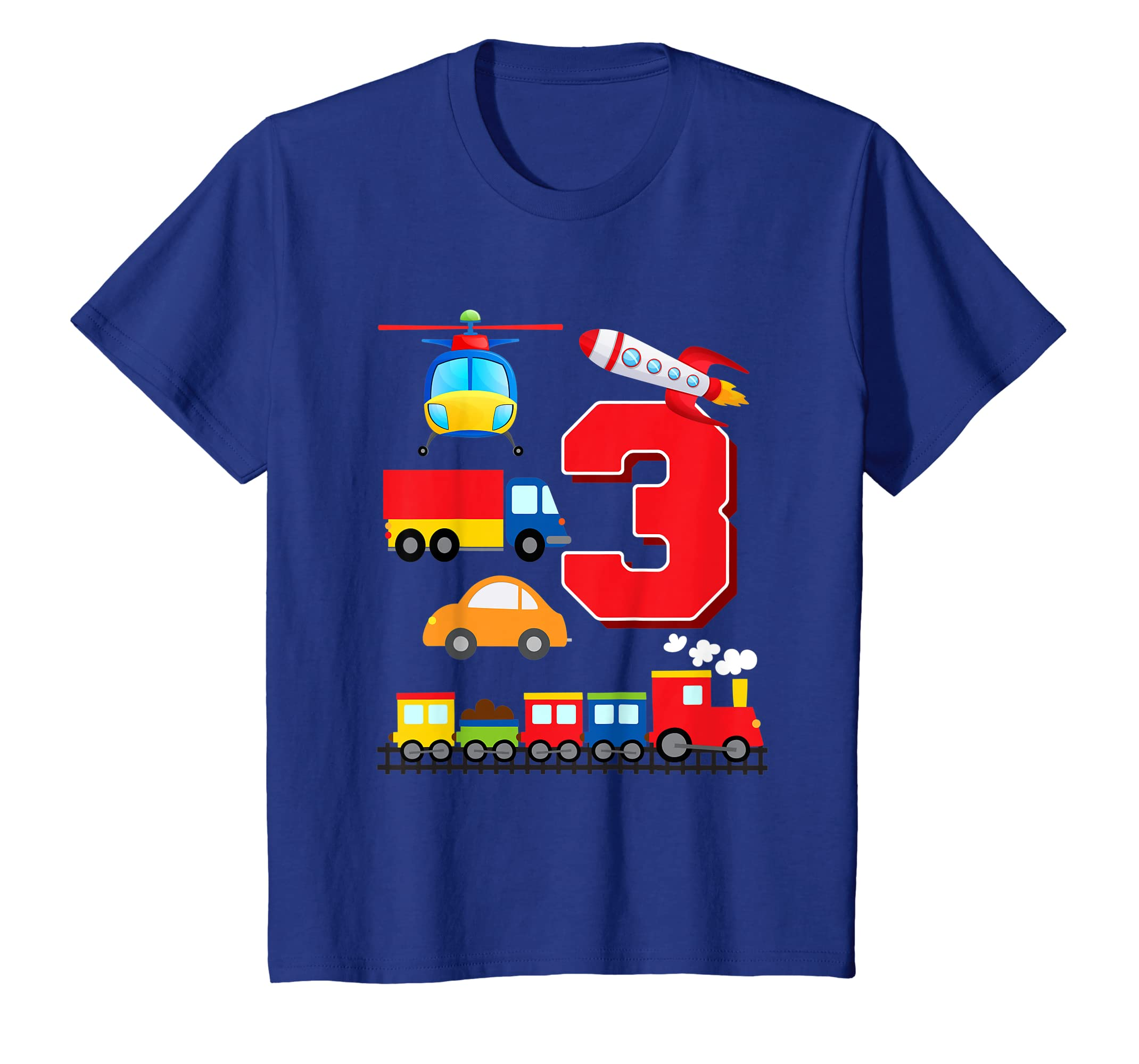Amazon Kids Boys Transportation 3rd Birthday T Shirt Trains Space Trucks Clothing