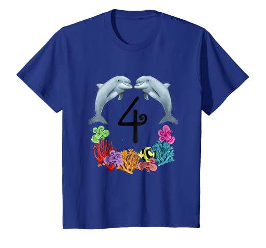 Image Unavailable Not Available For Color Kids 4 Year Old Dolphin Birthday Party 4th T Shirt