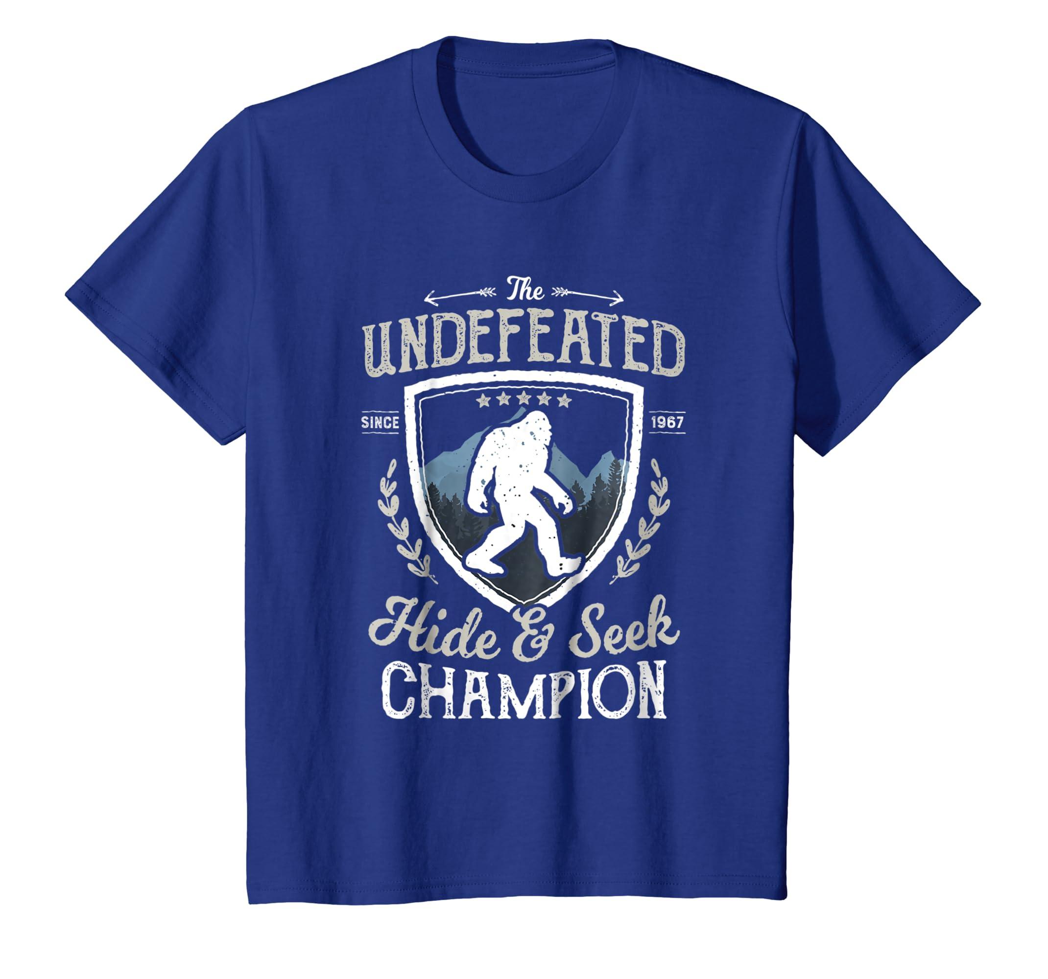 53c816032 Amazon.com: Bigfoot Undefeated Hide and Seek Champion T Shirt Sasquatch:  Clothing
