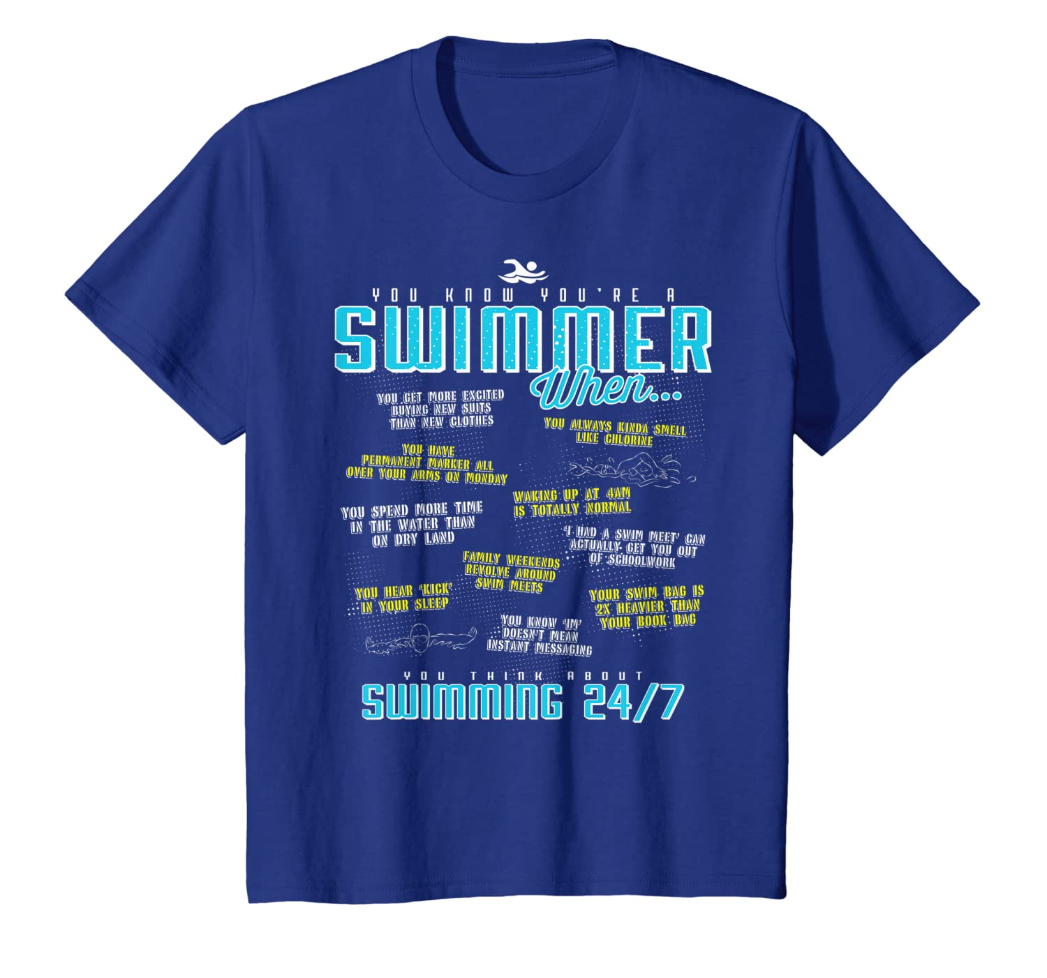 450d6b90 Amazon.com: You Know You're A Swimmer When Funny Swim T Shirt: Clothing