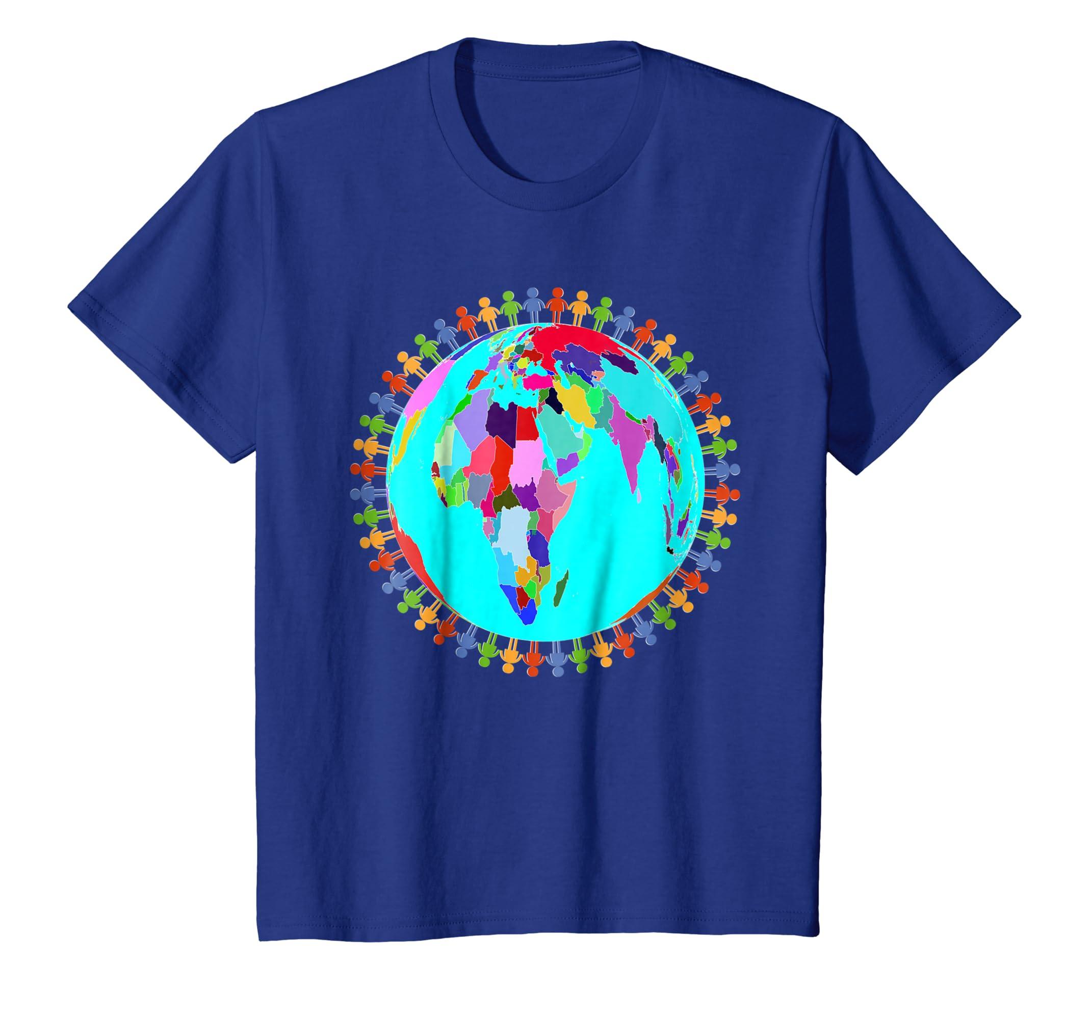 9cfc50ed0 Amazon.com: World Globe Planet People Humans Funny Earth Day T-Shirt:  Clothing