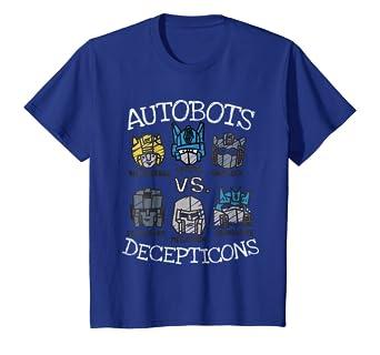 amazon com kids transformers autobots vs decepticons t shirt clothing