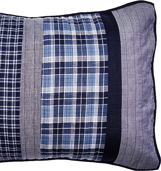 Nautica Adleson Cotton Pieced Quilted Sham Standard Blue Grey