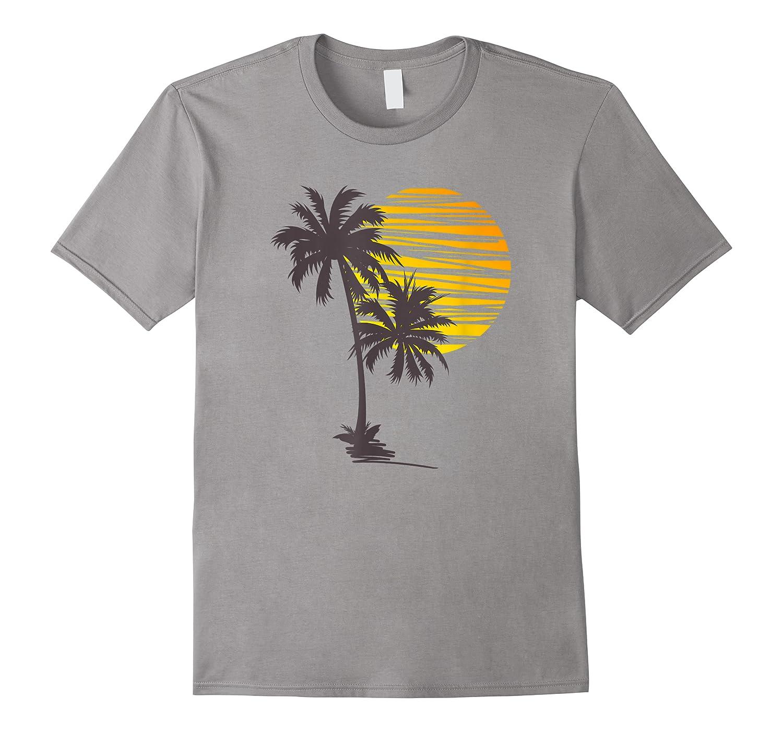 Sunset Beach Palm Tree Funny Summer Vacation Holiday Shirts