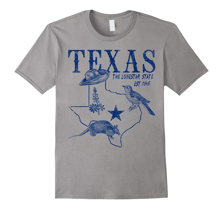 Vintage Texas Mockingbird Lone Star Bluebonnet Armadillo Hat Shirts