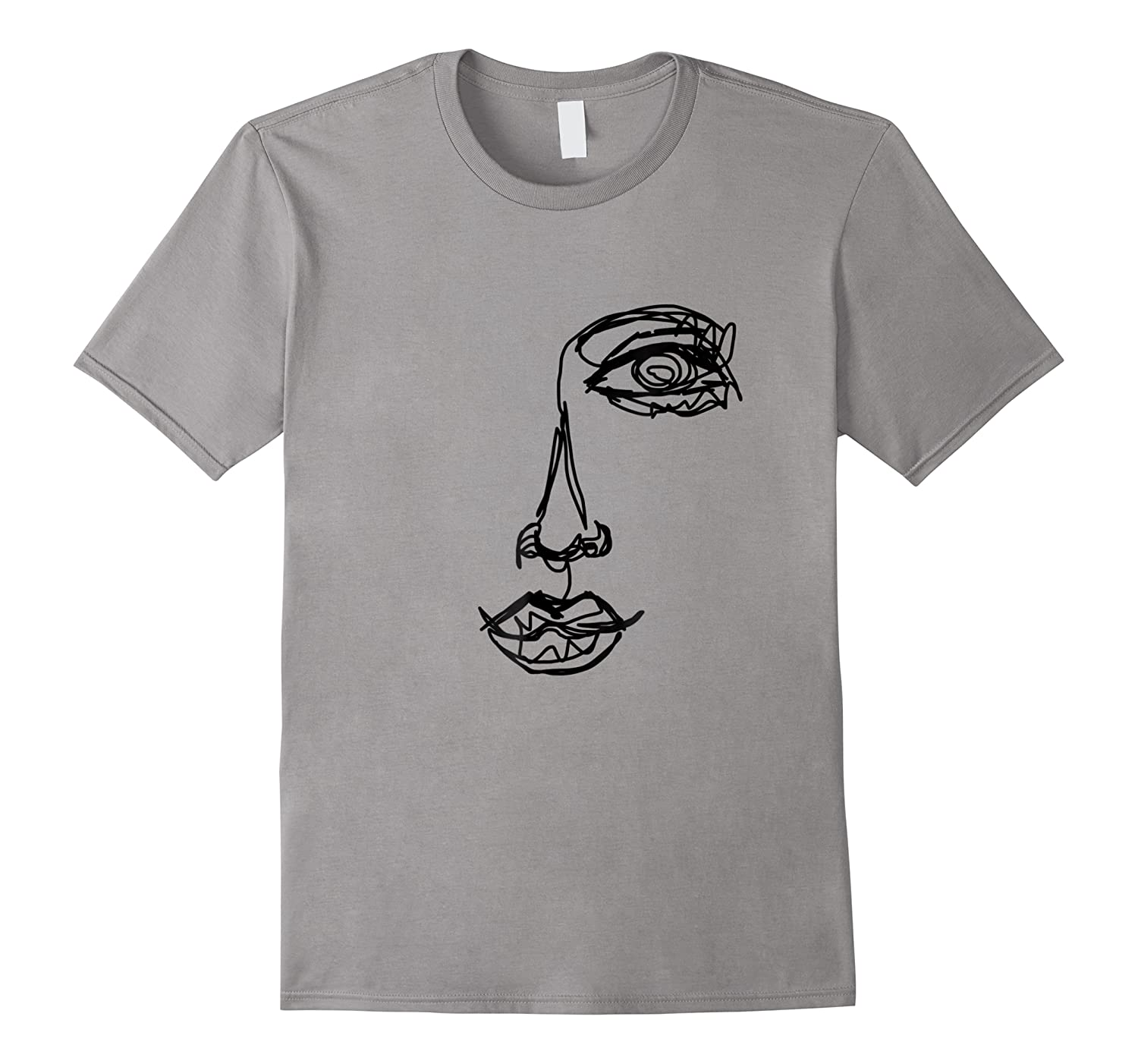 Abstract One Line Drawing Portrait T Shirt Illustration Tee