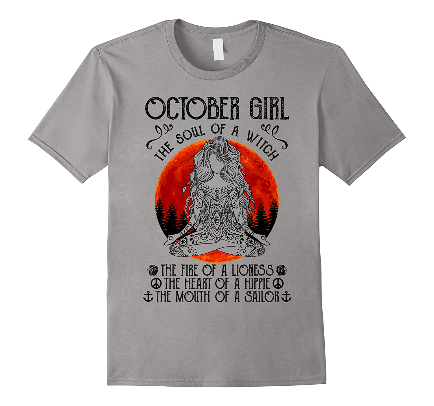 October Girl The Soul Of A Witch Tshirt Halloween Gift