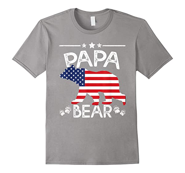 S American Flag Papa Bear 4th Of July Shirt Father Day Dad Tee