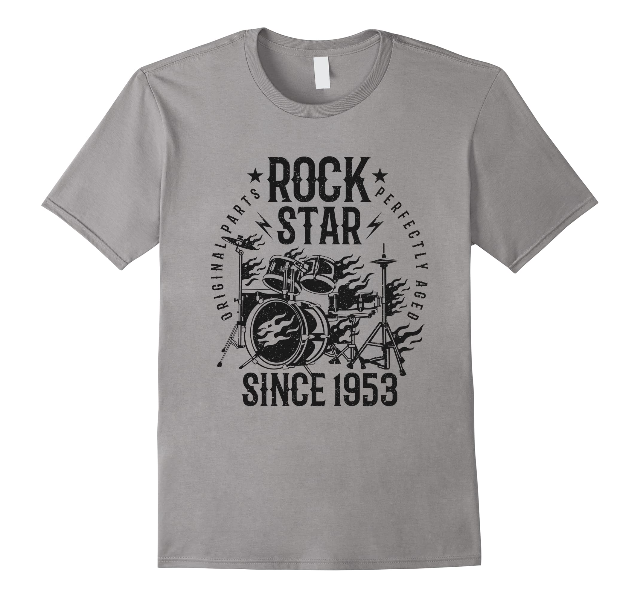 65th Birthday Gift T-Shirt Rock Star Since 1953 Grey-RT