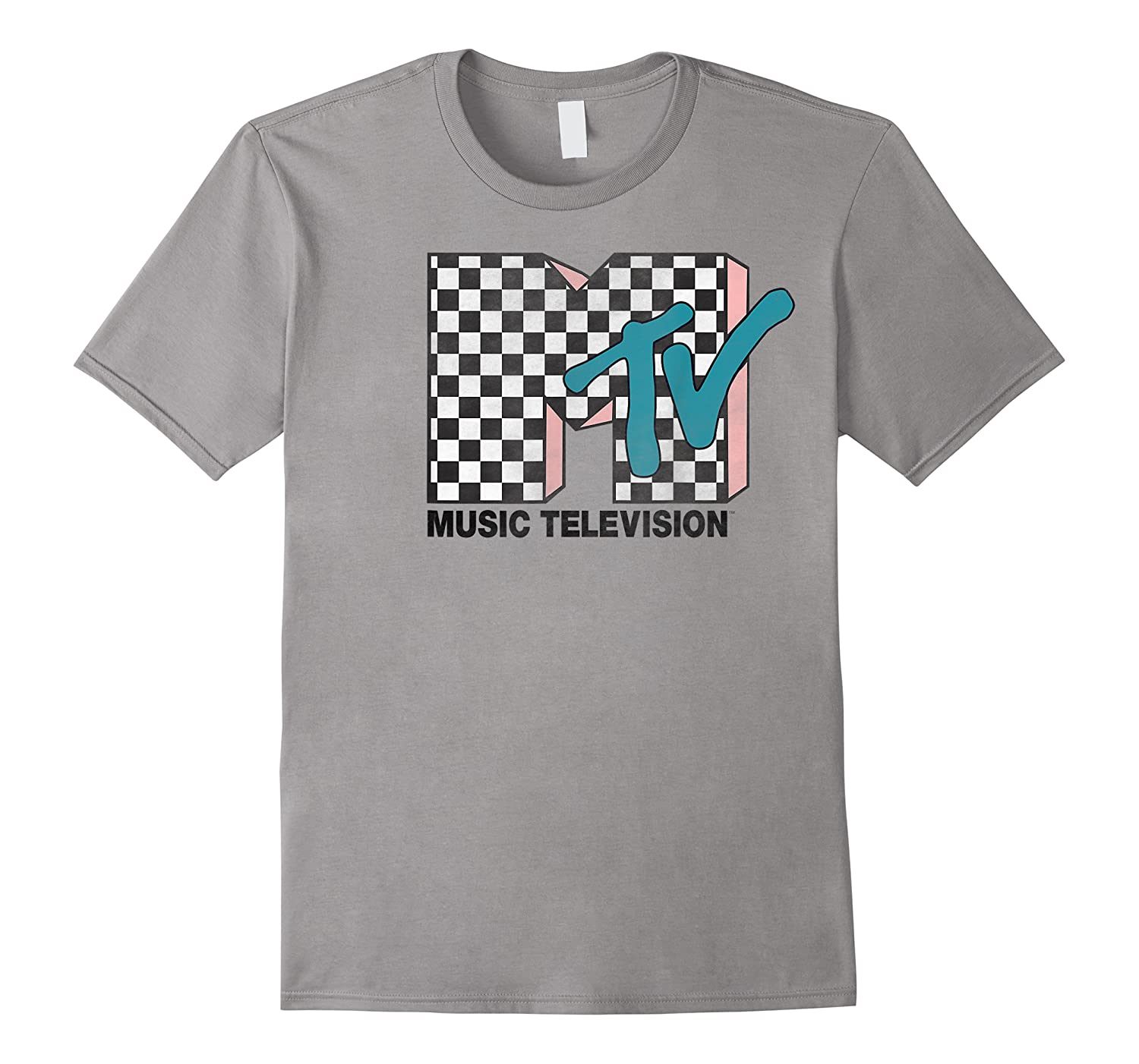 Mtv Checkered Logo Pink Shadow Turquoise Tv Graphic T-shirt