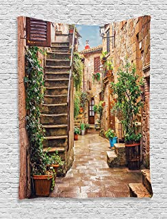 Ambesonne Italian Tapestry, View of Old Mediterranean Street with Stone Rock Houses in Italian City Rural Print, Wall Hanging for Bedroom Living Room Dorm Decor, 40