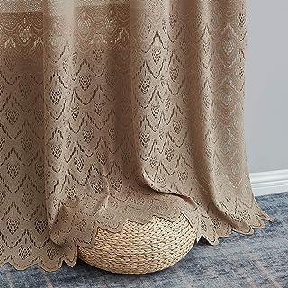 HLC.ME Monaco Premium Soft Decorative Ombre Lace Semi Sheer Light Filtering Rod Pocket Window Treatment Curtain Drapery Pa...
